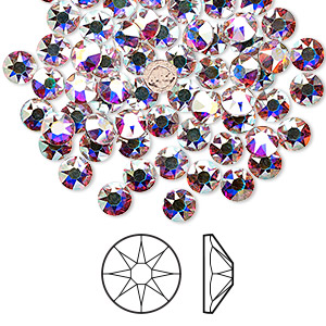 flat back, swarovski crystal hotfix rhinestone, crystal passions, crystal ab, foil back, 4.6-4.8mm xirius rose (2078), ss20. sold per pkg of 144 (1 gross).