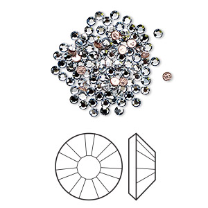 flat back, swarovski crystal hotfix rhinestone, crystal passions, crystal blue shade, foil back, 1.9-2.1mm xilion rose (2038), ss6. sold per pkg of 12.
