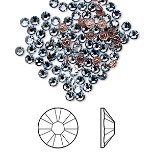 flat back, swarovski crystal hotfix rhinestone, crystal passions, crystal blue shade, foil back, 2.7-2.9mm xilion rose (2038), ss10. sold per pkg of 144 (1 gross).