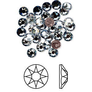 flat back, swarovski crystal hotfix rhinestone, crystal passions, crystal blue shade, foil back, 4.6-4.8mm xirius rose (2078), ss20. sold per pkg of 144 (1 gross).