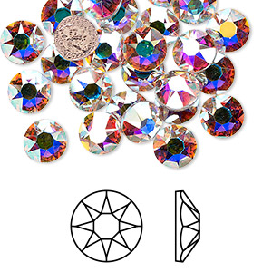 flat back, swarovski crystal hotfix rhinestone, crystal passions, crystal ab, foil back, 7.07-7.27mm xirius rose (2078hf), ss34. sold per pkg of 12.