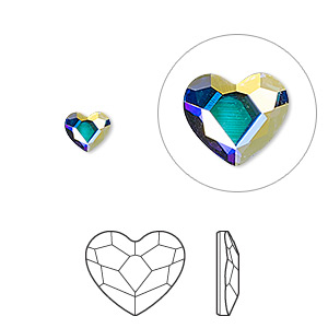 flat back, swarovski crystal hotfix rhinestone, crystal passions, crystal ab, foil back, 6mm faceted heart (2808hf). sold per pkg of 24.