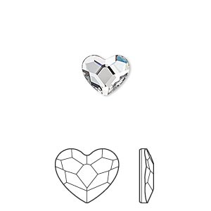 flat back, swarovski crystal hotfix rhinestone, crystal passions, crystal clear, foil back, 10mm faceted heart (2808). sold per pkg of 24.