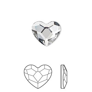 flat back, swarovski crystal hotfix rhinestone, crystal passions, crystal clear, foil back, 14mm faceted heart (2808). sold per pkg of 24.