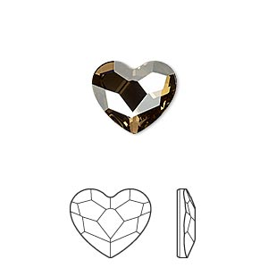 flat back, swarovski crystal hotfix rhinestone, crystal passions, crystal golden shadow, foil back, 14mm faceted heart (2808). sold per pkg of 2.