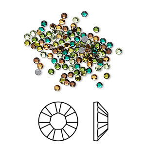 flat back, swarovski crystal hotfix rhinestone, crystal passions, forest, foil back, 1.9-2.1mm xilion rose (2028), ss6. sold per pkg of 144 (1 gross).