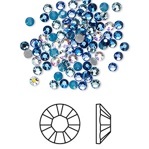flat back, swarovski crystal hotfix rhinestone, crystal passions, glacier, foil back, 2.7-2.9mm xilion rose (2028), ss10. sold per pkg of 144 (1 gross).