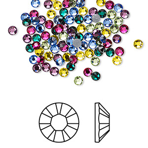 flat back, swarovski crystal hotfix rhinestone, crystal passions, jewel, foil back, 2.7-2.9mm xilion rose (2028), ss10. sold per pkg of 144 (1 gross).