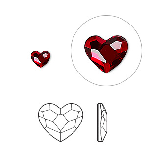flat back, swarovski crystal hotfix rhinestone, crystal passions, light siam, foil back, 6mm faceted heart (2808). sold per pkg of 2.