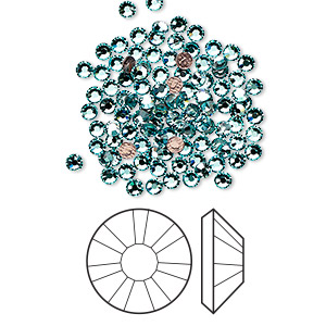 flat back, swarovski crystal hotfix rhinestone, crystal passions, light turquoise, foil back, 2.3-2.5mm xilion rose (2038), ss8. sold per pkg of 12.