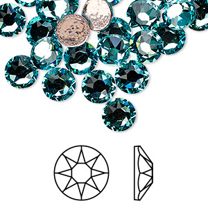 flat back, swarovski crystal hotfix rhinestone, crystal passions, light turquoise, foil back, 7.07-7.27mm xirius rose (2078), ss34. sold per pkg of 12.