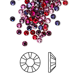 flat back, swarovski crystal hotfix rhinestone, crystal passions, passion, foil back, 3-3.2mm xilion rose (2028), ss12. sold per pkg of 144 (1 gross).
