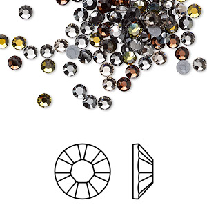 flat back, swarovski crystal hotfix rhinestone, crystal passions, smokies, foil back, 3-3.2mm xilion rose (2028), ss12. sold per pkg of 144 (1 gross).