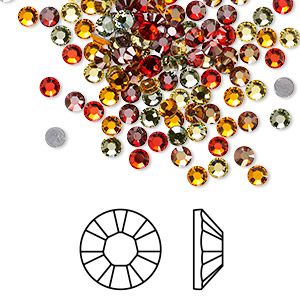 flat back, swarovski crystal hotfix rhinestone, crystal passions, sonoran, foil back, 3-3.2mm xilion rose (2028), ss12. sold per pkg of 144 (1 gross).