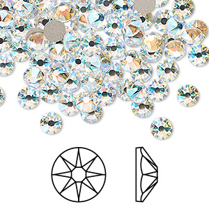 flat back, swarovski, crystal passions, crystal shimmer, foil back, 4.6-4.8mm xirius rose (2088), ss20. sold per pkg of 144 (1 gross).