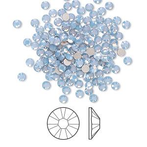 flat back, swarovski crystal rhinestone, air blue opal, foil back, 2.5-2.7mm xilion rose (2058), ss9. sold per pkg of 144 (1 gross).