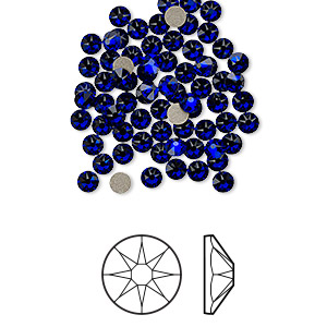 flat back, swarovski crystal rhinestone, cobalt, foil back, 3-3.2mm xirius rose (2088), ss12. sold per pkg of 1,440 (10 gross).