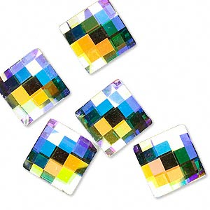 flat back, swarovski crystal rhinestone, crystal ab, foil back, 12x12mm faceted chessboard (2493). sold per pkg of 6.