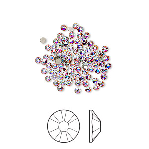 flat back, swarovski crystal rhinestone, crystal ab, foil back, 1.7-1.9mm xilion rose (2058), ss5. sold per pkg of 1,440 (10 gross).