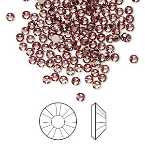 flat back, swarovski crystal rhinestone, crystal antique pink, foil back, 2.5-2.7mm xilion rose (2058), ss9. sold per pkg of 1,440 (10 gross).