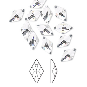 flat back, swarovski crystal rhinestone, crystal clear, foil back, 10x6mm faceted rhombus (2709). sold per pkg of 144 (1 gross).