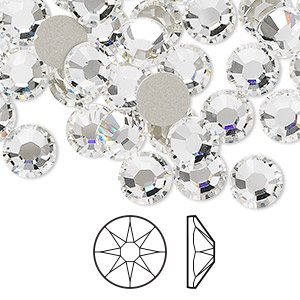 flat back, swarovski crystal rhinestone, crystal clear, foil back, 7.07-7.27mm xirius rose (2088), ss34. sold per pkg of 144 (1 gross).