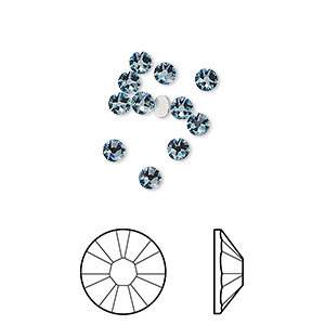 flat back, swarovski crystal rhinestone, crystal passions, aquamarine, foil back, 3-3.2mm xirius rose (2088), ss12. sold per pkg of 12.