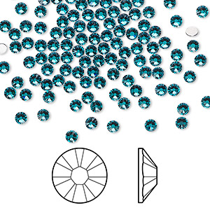flat back, swarovski crystal rhinestone, crystal passions, blue zircon, foil back, 2.5-2.7mm xilion rose (2058), ss9. sold per pkg of 144 (1 gross).