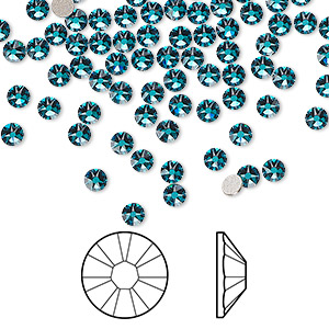 flat back, swarovski crystal rhinestone, crystal passions, blue zircon, foil back, 3-3.2mm xirius rose (2088), ss12. sold per pkg of 144 (1 gross).