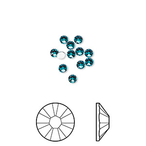 flat back, swarovski crystal rhinestone, crystal passions, blue zircon, foil back, 2.5-2.7mm xilion rose (2058), ss9. sold per pkg of 12.