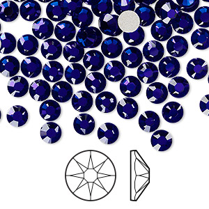 flat back, swarovski crystal rhinestone, crystal passions, cobalt, foil back, 4.6-4.8mm xirius rose (2088), ss20. sold per pkg of 144 (1 gross).