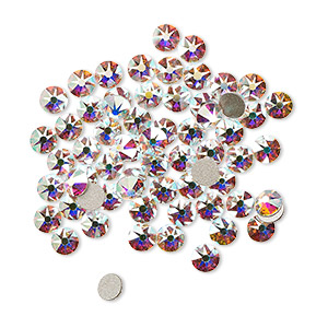 flat back, swarovski crystal rhinestone, crystal passions, crystal ab, foil back, 3-3.2mm xirius rose (2088), ss12. sold per pkg of 144 (1 gross).