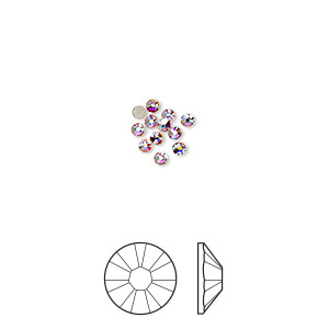 flat back, swarovski crystal rhinestone, crystal passions, crystal ab, foil back, 1.7-1.9mm xilion rose (2058), ss5. sold per pkg of 12.