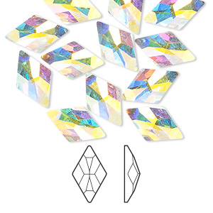 flat back, swarovski crystal rhinestone, crystal passions, crystal ab, foil back, 13x8mm faceted rhombus (2709). sold per pkg of 12.