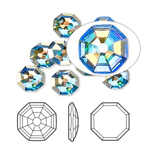flat back, swarovski crystal rhinestone, crystal passions, crystal ab, foil back, 8mm solaris (2611). sold per pkg of 24.