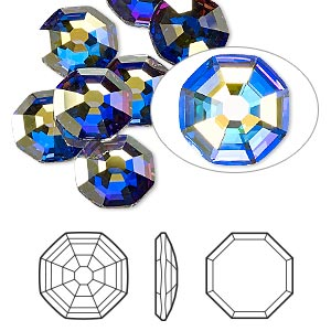 flat back, swarovski crystal rhinestone, crystal passions, crystal ab, foil back, 10mm solaris (2611). sold per pkg of 2.