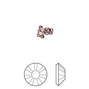 flat back, swarovski crystal rhinestone, crystal passions, crystal antique pink, foil back, 1.7-1.9mm xilion rose (2058), ss5. sold per pkg of 12.