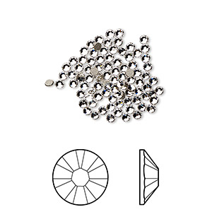 flat back, swarovski crystal rhinestone, crystal passions, crystal clear, foil back, 1.7-1.9mm xilion rose (2058), ss5. sold per pkg of 144 (1 gross).
