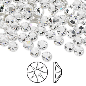 flat back, swarovski crystal rhinestone, crystal passions, crystal clear, foil back, 4.6-4.8mm xirius rose (2088), ss20. sold per pkg of 144 (1 gross).
