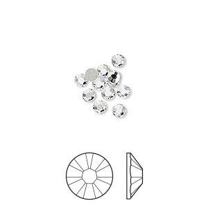 flat back, swarovski crystal rhinestone, crystal passions, crystal clear, foil back, 2.5-2.7mm xilion rose (2058), ss9. sold per pkg of 12.