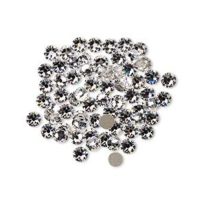 flat back, swarovski crystal rhinestone, crystal passions, crystal clear, foil back, 3-3.2mm xirius rose (2088), ss12. sold per pkg of 12.