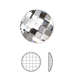 flat back, swarovski crystal rhinestone, crystal passions, crystal clear, foil back, 20mm faceted chessboard round (2035). sold per pkg of 4.