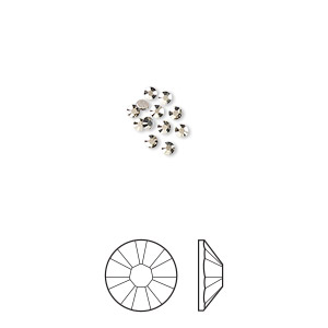 flat back, swarovski crystal rhinestone, crystal passions, crystal metallic light gold, foil back, 1.7-1.9mm xilion rose (2058), ss5. sold per pkg of 12.