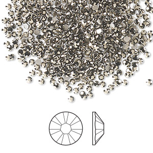 flat back, swarovski crystal rhinestone, crystal passions, crystal metallic light gold, foil back, 1.7-1.9mm xilion rose (2058), ss5. sold per pkg of 1,440 (10 gross).