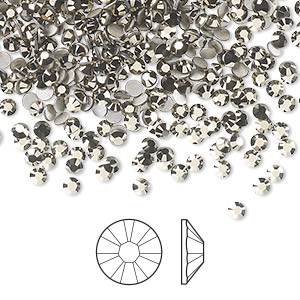 flat back, swarovski crystal rhinestone, crystal passions, crystal metallic light gold, foil back, 2.5-2.7mm xilion rose (2058), ss9. sold per pkg of 144 (1 gross).