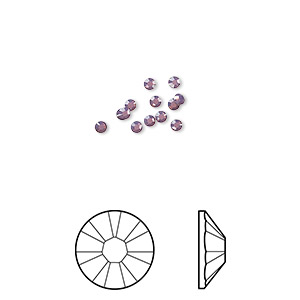 flat back, swarovski crystal rhinestone, crystal passions, cyclamen opal, foil back, 2.5-2.7mm xilion rose (2058), ss9. sold per pkg of 12.