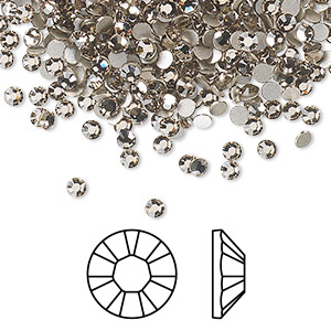flat back, swarovski crystal rhinestone, crystal passions, greige, foil back, 2.5-2.7mm xilion rose (2028), ss9. sold per pkg of 144 (1 gross).