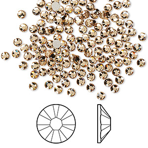 flat back, swarovski crystal rhinestone, crystal passions, light colorado topaz, foil back, 2.5-2.7mm xilion rose (2058), ss9. sold per pkg of 144 (1 gross).
