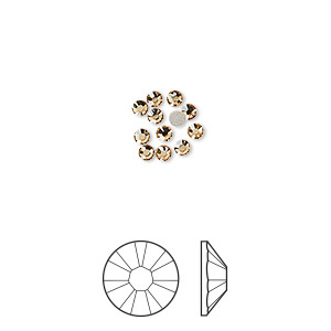 flat back, swarovski crystal rhinestone, crystal passions, light colorado topaz, foil back, 2.1-2.3mm xilion rose (2058), ss7. sold per pkg of 12.