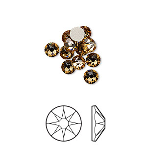flat back, swarovski crystal rhinestone, crystal passions, light colorado topaz, foil back, 4.6-4.8mm xirius rose (2088), ss20. sold per pkg of 12.